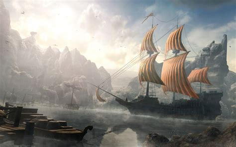 ships mist fantasy art artwork harbor port sails wallpaper