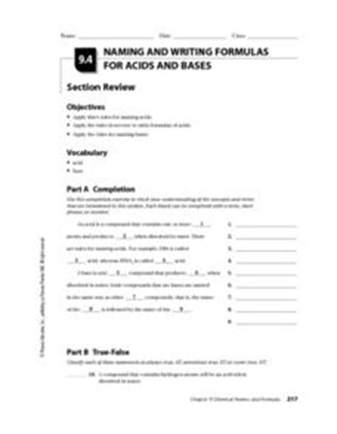naming and writing formulas for acids and bases worksheet for 10th higher ed lesson planet