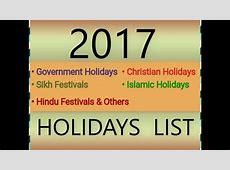 2017 GOVERNMENT,HINDU,SIKH,ISLAMIC,CHRISTIAN HOLIDAYS LIST