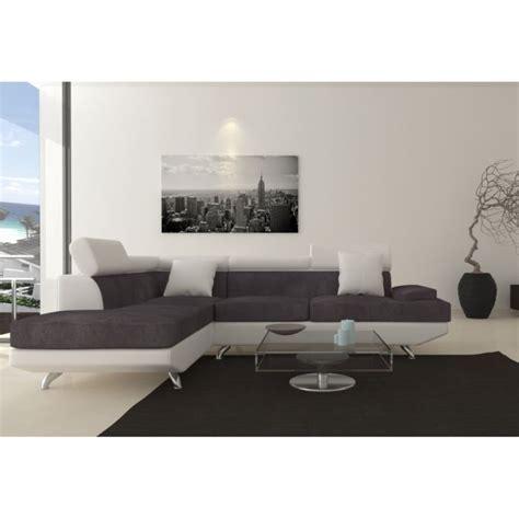 canapé d angle gris et blanc scoop fixe canapé angle gauche 4 places simili et tissu