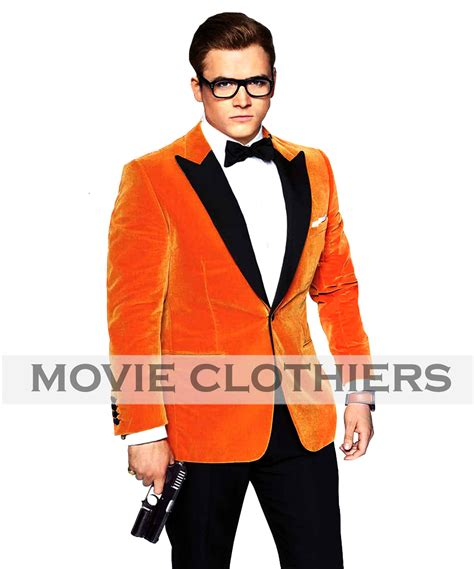 kingsman orange blazer eggsy orange smoking velvet jacket