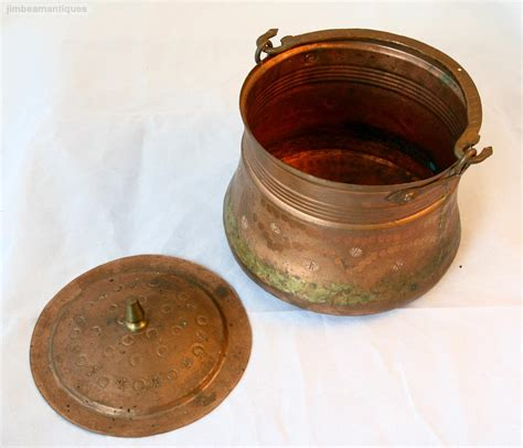 hammered copper kitchen accessories antique vintage crafted hammered copper pot kettle 4117