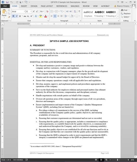 Iso 9001 Forms Templates Free by Descriptions Template Iso Template