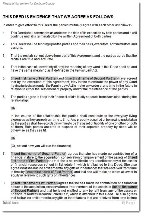 cohabitation agreement  living  pre defacto