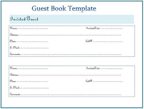 Wedding Guest Book Templates Free. bridal shower guest book template ...
