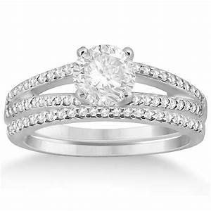 Split shank pave set diamond engagement ring wedding for Split shank engagement ring with wedding band
