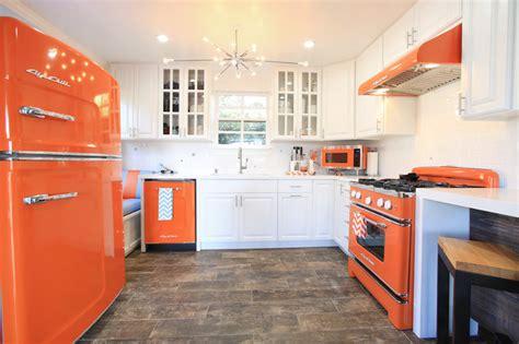 orange retro kitchen appliances  modern touch