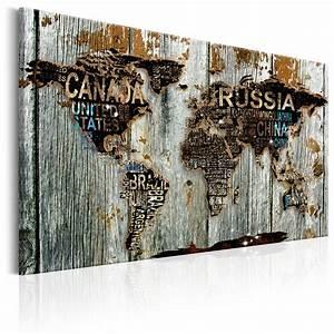 Weltkarte Bild Holz : leinwand bilder xxl kunstdruck wandbild weltkarte holz k c ~ Lateststills.com Haus und Dekorationen