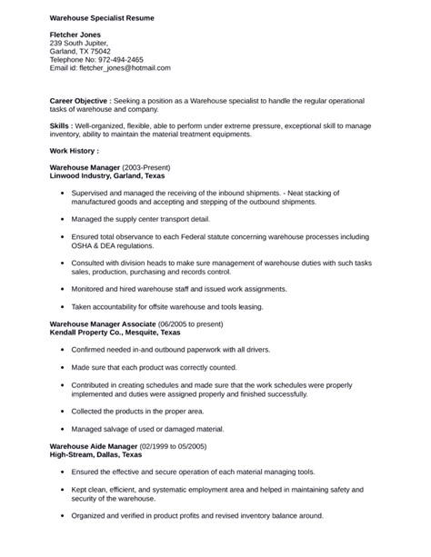 simple warehouse specialist resume template