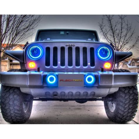 jeep halo lights jeep wrangler v 3 fusion color change led halo headlight