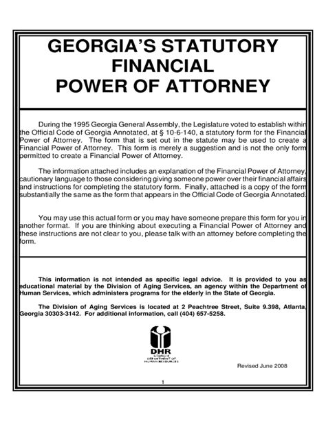 20938 financial power of attorney form statutory financial power of attorney free