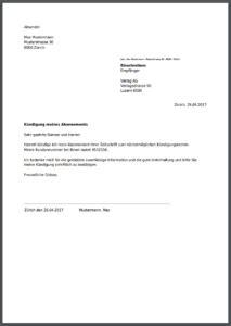 Kündigung Für Zeitschrift & Zeitungsabo Online Als Pdf