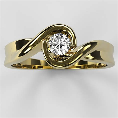 galaxy gold engagement ring with 0 08ct diamond
