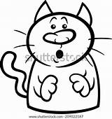 Cat Cartoon Surprised Coloring Clipart Clip Funny Startled Illustration Vector Symbol Rockhound Fotosearch Drawing Template Illustrations sketch template