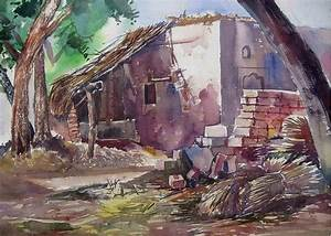 Village Scene Painting by Sumit Sharma