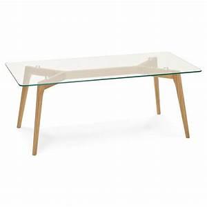 Table Style Scandinave : table basse rectangulaire style scandinave henna en verre et ch ne transparent ~ Teatrodelosmanantiales.com Idées de Décoration
