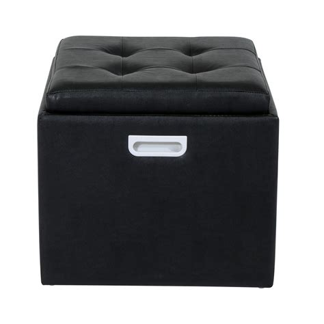 tufted ottoman with shelf homcom 14 quot tufted square storage ottoman with tray black