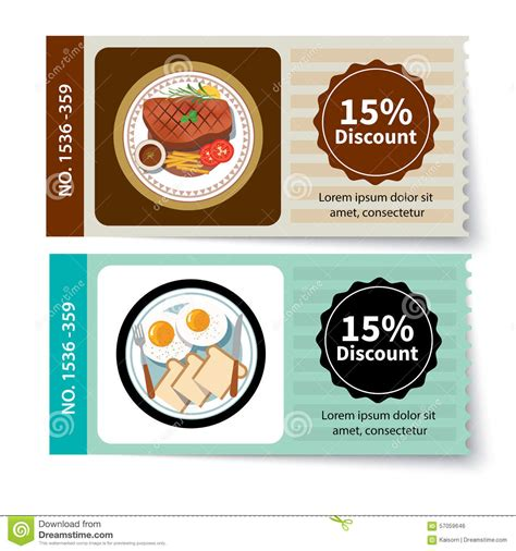 promotions cuisines set of food coupon discount template design stock vector