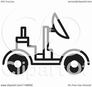 Clipart of a Black and White Space Rover Icon - Royalty ...