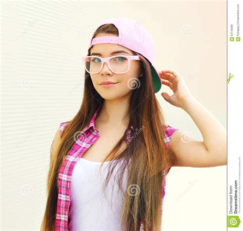 Pretty Cool Girl Wearing A Pink Baseball Cap And Pink