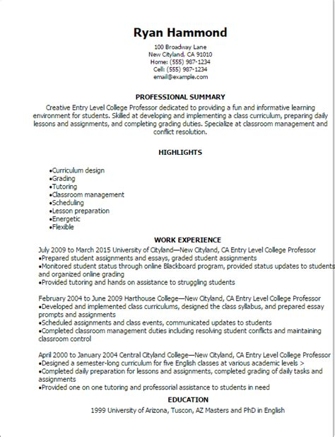 Professor Resume by Professional Entry Level College Professor Resume