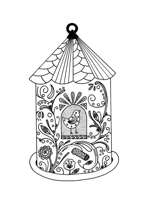 whimsical bird house adult coloring page favecraftscom