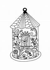 Coloring Bird Adult Whimsical Pages Cage sketch template