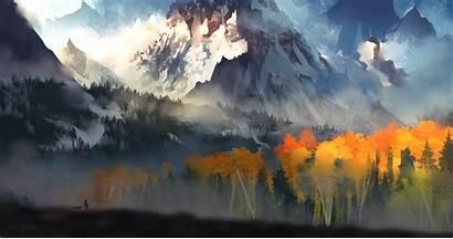 Landscape Scenery Digital Autumn Moutain Wallpapers 5k