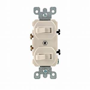 Leviton 15 Amp Combination Double Switch  Light Almond