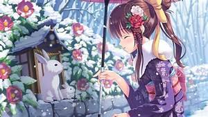 Wallpaper, Anime, Girl, Beauty, Winter, Rabbits, Snow, 4k, Art, 16659