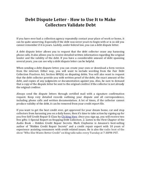debt dispute letter       collectors