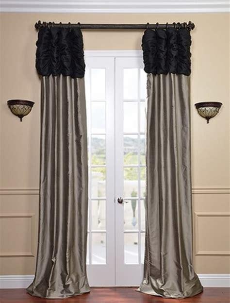 ruched thai silk curtain midnight black header silver