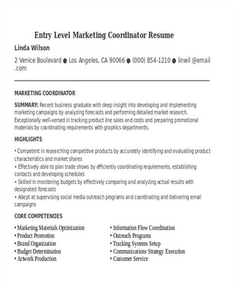 Marketing Coordinator Resume by Entry Level Marketing Coordinator Resume Bijeefopijburg Nl