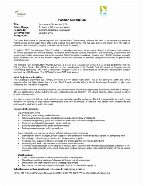 Description Resume by 12 Landscape Description For Resume Collection