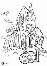 Coloring Pages Halloween Haunted Pumpkin Scary Bubakids sketch template
