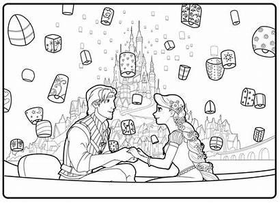 Coloring Lanterns Tangled Rapunzel Scene Flynn Anime