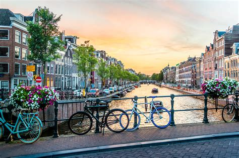 Photography Of Bicycles Parked On Bridge Amsterdam Hd