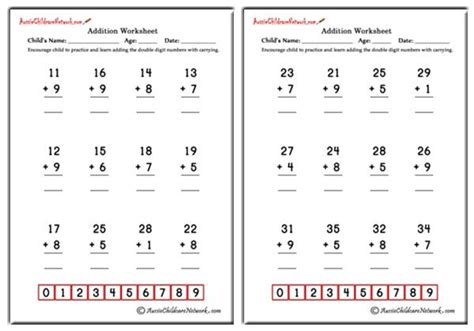Double Digit Addition Worksheets (with Carrying)  Aussie Childcare Network