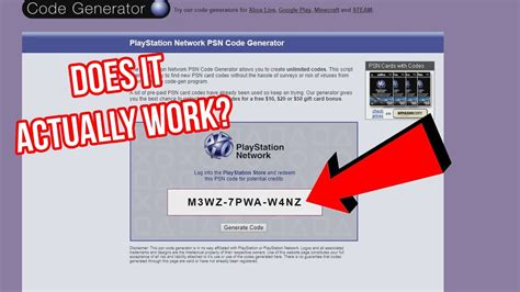 psn code generator scam site experiment youtube