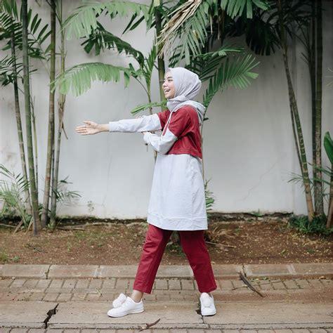 outfit baju hijab casual  olahraga ala selebgram