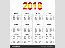 Calendario español para 2018 y los colores de la bandera