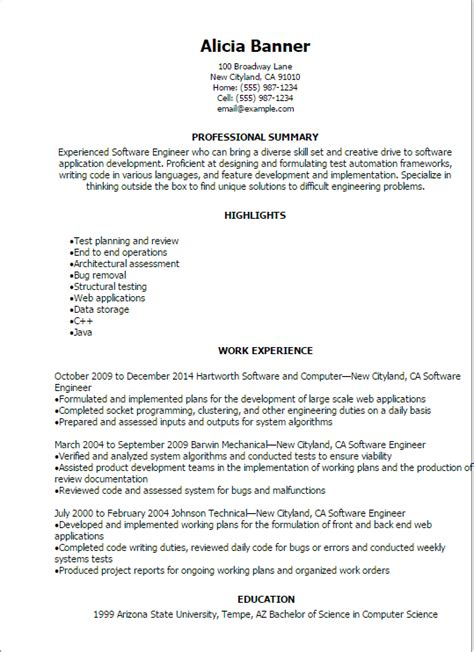 Software Engineer Resume Sles by Resume Template Software Engineer Fee Schedule Template