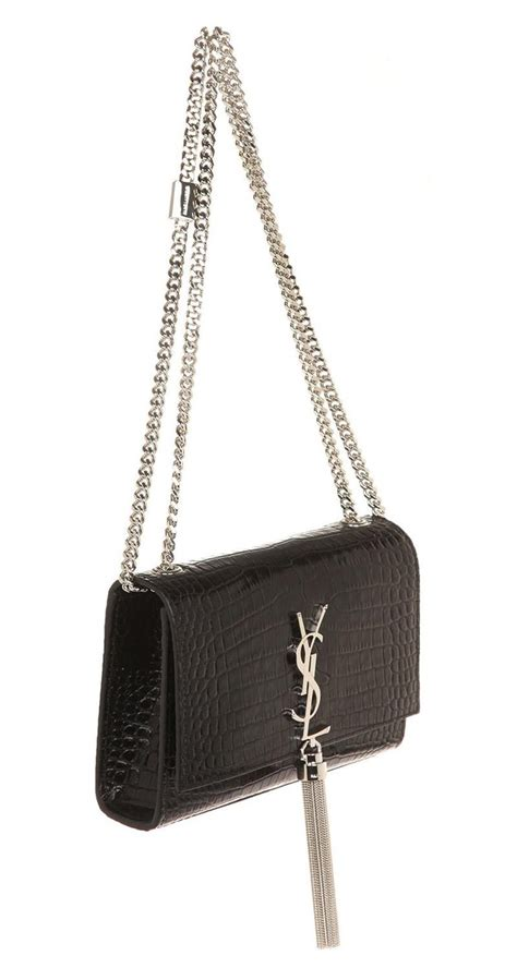 ysl saint laurent small croc embossed bag kate  tassel  stdibs