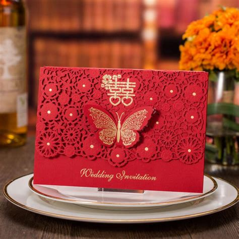 50pcs/packt Red Butterfly Wedding Invitations Card