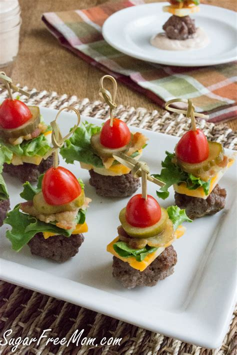 canape toppings mini bun less cheeseburger bites with thousand island dip