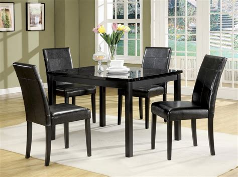portland black faux marble top pc pack dining table set
