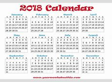 2018 Calendar – Download Quality Calendars