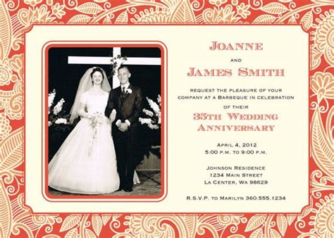 wedding anniversary invitation coral