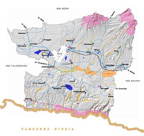 peta blitar lengkap  kecamatan sejarah indonesia