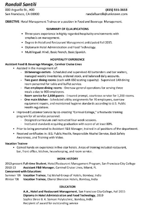 Resume For Hotel Management by Resume Sle Hotel Management Trainee